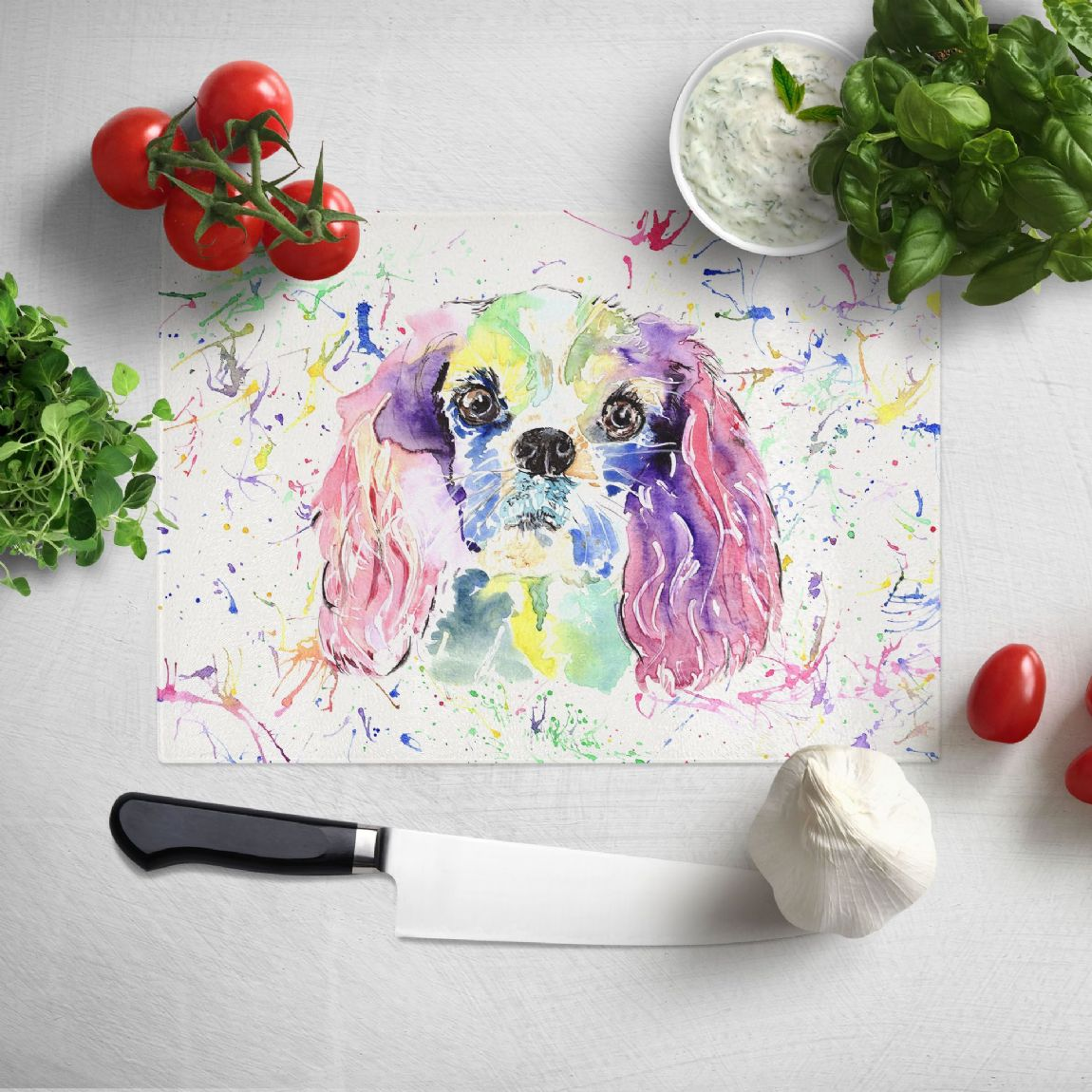 Glass worktop saver/chopping board (Cavalier King charles)